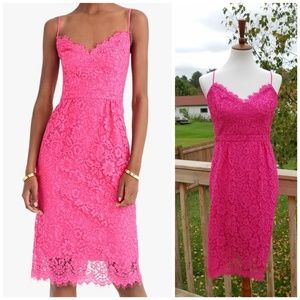 New J. Crew Pink Lace Midi Dress